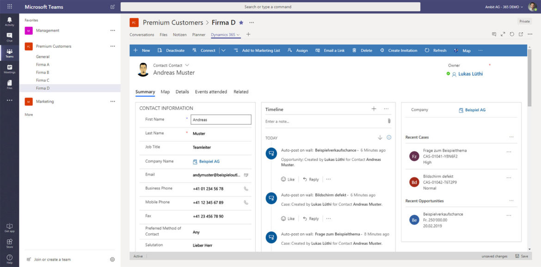 Office 365, Microsoft Teams und Dynamics 365 - perfect